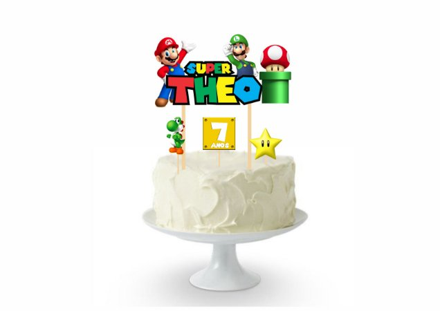 Topo de Bolo - Personalizado - Super Mario