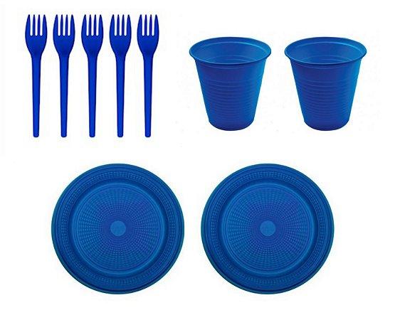 Kit Descartável - Azul Escuro  - 150 Itens