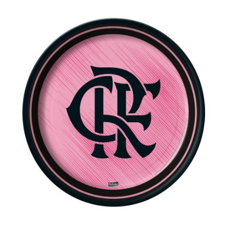 Prato de Papel -18 cm Flamengo Rosa - 08 unidades