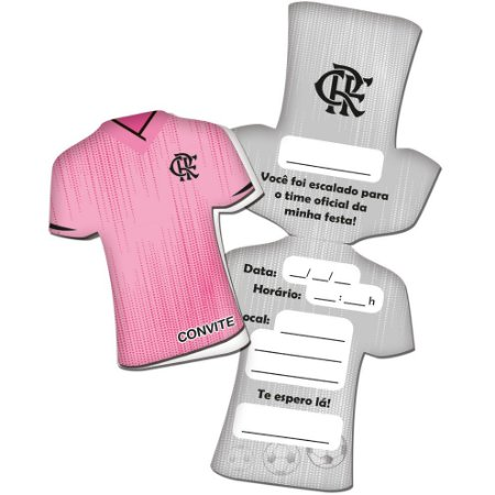 Convite Camisa Flamengo Rosa - 08 unidades
