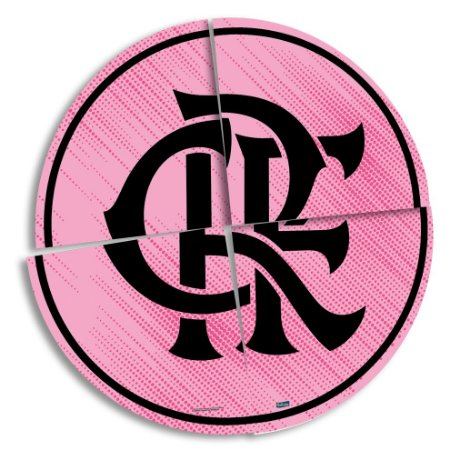 Painel 4 Folhas Decorativo - Flamengo Rosa