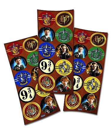 Adesivo Redondo para Lembrancinha Festa Harry Potter - 30 unidades