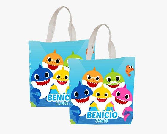 10 Eco Bag Personalizada - 25 x 30 - Baby Shark