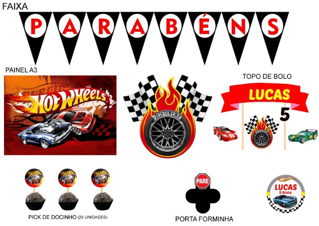 Kit Festa Espetacular Personalizado - Hot Wheels