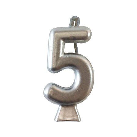Vela Numeral Metalic - Prata Nº 5