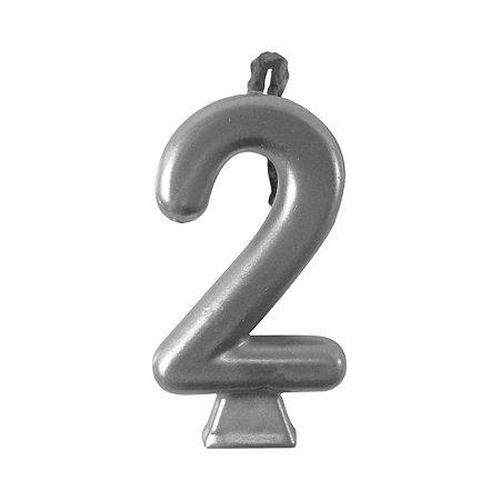 Vela Numeral Metalic - Prata Nº 2