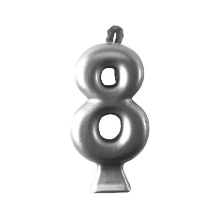 Vela Numeral Metalic - Prata Nº 8