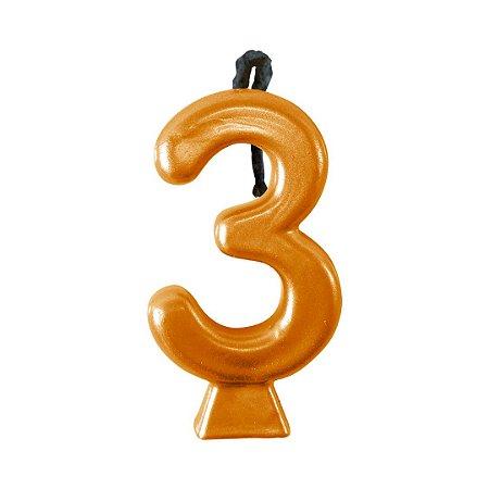 Vela Numeral Metalic - Dourada  Nº 3