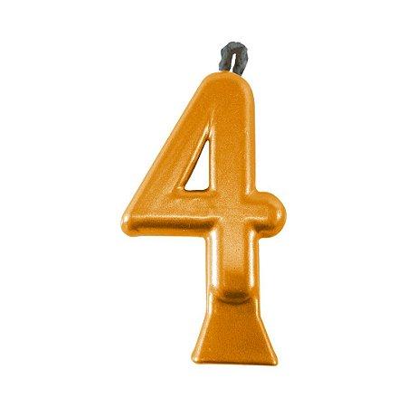Vela Numeral Metalic - Dourada  Nº 4