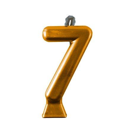 Vela Numeral Metalic - Dourada  Nº 7