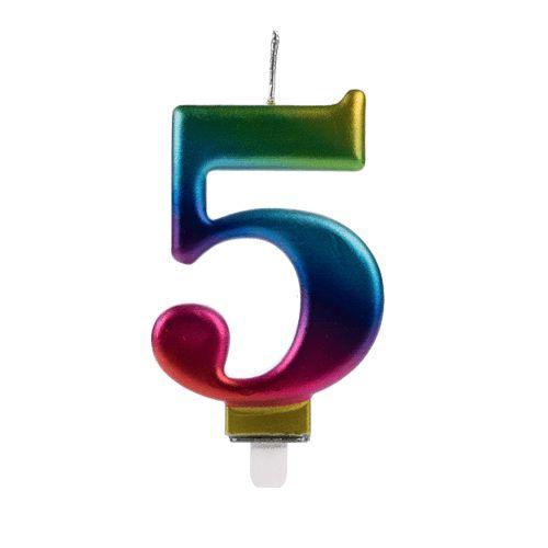 Vela Numeral Wave - Nº 5