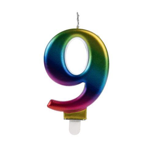 Vela Numeral Wave - Nº 9