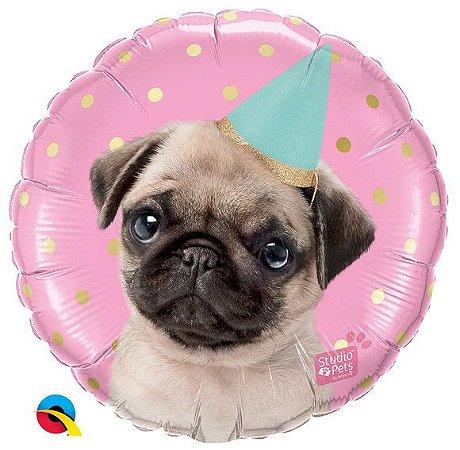 Balão Metalizado Festa Cachorro Rosa