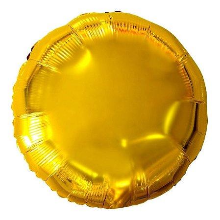 Balão Metalizado Redondo Dourado -45 cm