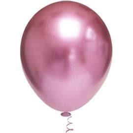Balão Cromado Redondo N° 5  - Rosa - Ideal para Topo de Bolo