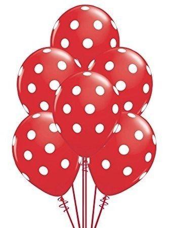 Balão N° 10- Bolinhas Vermelho com Branco - 25 unidades