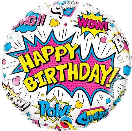 Balão Metalizado  Birthday - Branco