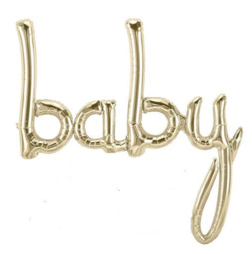 Balão Metalizado Escrita Baby Ouro Branco
