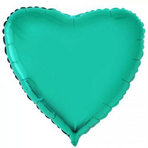 Balão Metalizado  - Coração Verde Cromo - 45cm