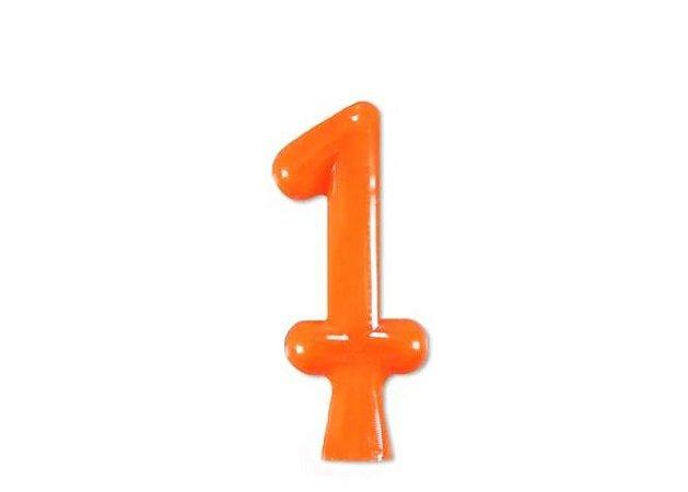 Vela de Aniversário Laranja Neon - Número 1
