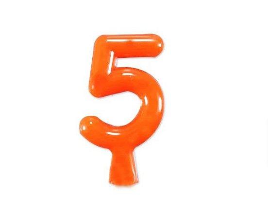 Vela de Aniversário Laranja Neon - Número 5