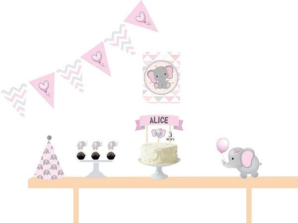 Kit Mesversário - Elefantinho Rosa