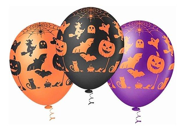 Balão látex 9 Polegadas Halloween Sortido - 25 unidades