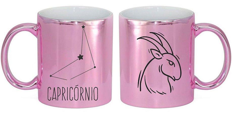 Caneca Cerâmica Cromada Rosa - Signo Capricórnio