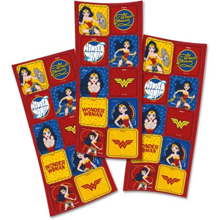 Adesivo Quadrado - Mulher Maravilha Kids - 30 unidades