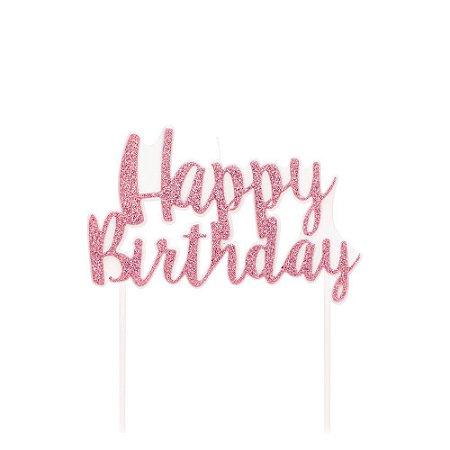 Vela Happy Birthday Rosa Glitter