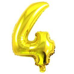 Balão Metalizado Numero 4 - Dourado 100cm