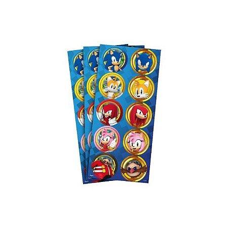 Adesivo Redondo - Sonic - 30 unidades