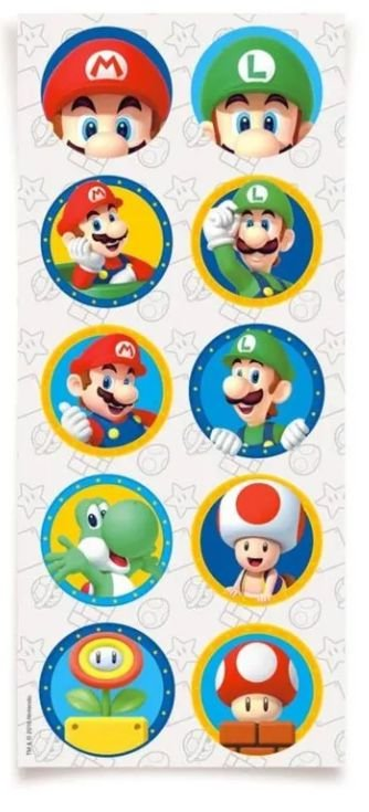 Adesivo Redondo - Super Mario Bros - 30 unidades