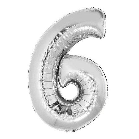 Balão Metalizado Número 6 - Prata - 70 cm