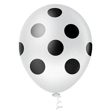 Balão Latex  nº10 - Branco c/ Preto  - pic pic