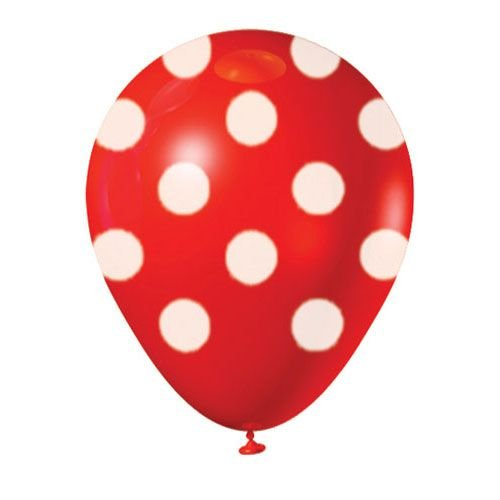 Balão Latex  nº10 - Vermelho c/ branco  - pic pic