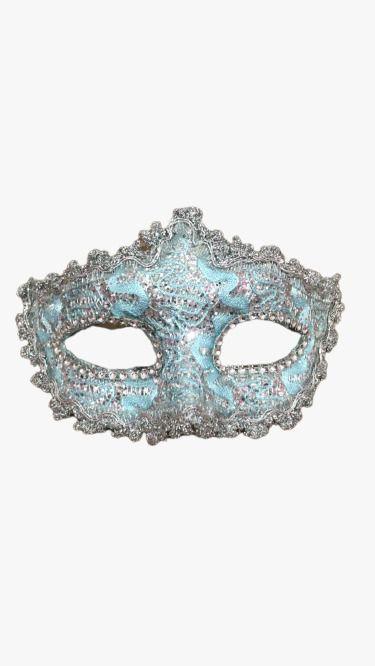 Máscara de Carnaval - Veneza Azul Claro