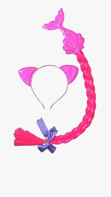Tiara Sereia e trança Rosa - Carnaval