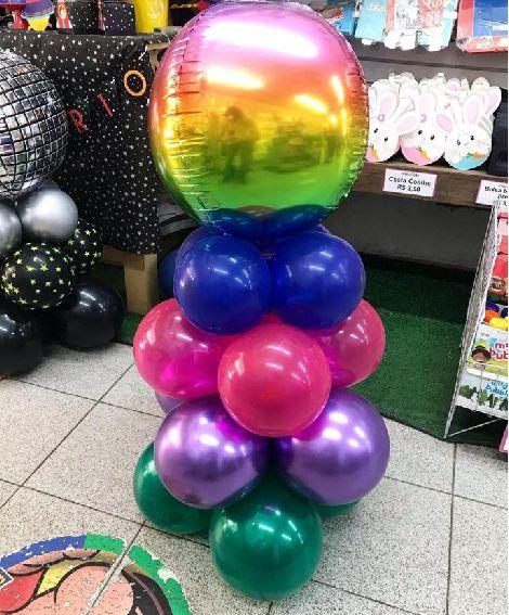 Kit Balão Metalizado Bolha Colorida - 45cm