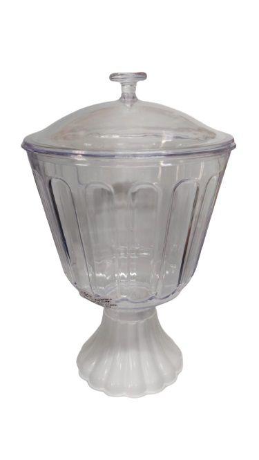 Taça Confeiteiro com Tampa 1,25l - Transparente e base Branca