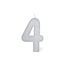 Vela Numeral Cintilante - Branca - Nº 4