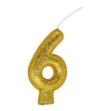 Vela Numeral Cintilante - dourado - Nº 6