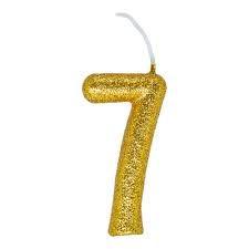 Vela Numeral Cintilante - dourado - Nº 7