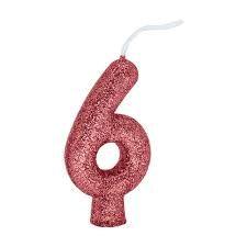 Vela Numeral Cintilante - ouro rose - Nº 6