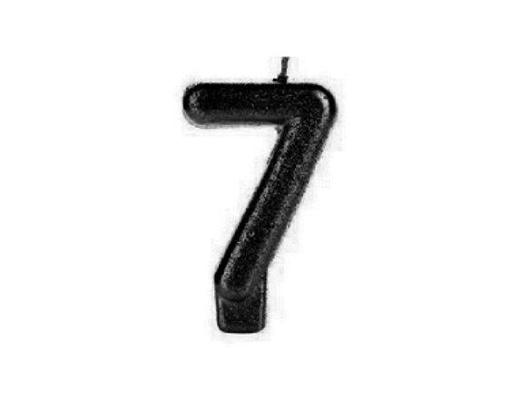 Vela Numeral Cintilante - Preta - Nº 7