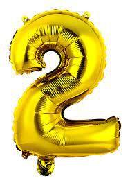 Balão Metalizado Numero 2 - Dourado 70cm