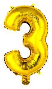 Balão Metalizado Numero 3 - Dourado 70cm