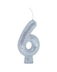 Vela Numeral Cintilante - prata - Nº 6