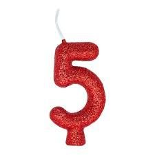 Vela Numeral Cintilante - vermelha - Nº 5