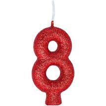 Vela Numeral Cintilante - vermelha - Nº 8